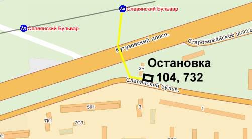 Схема проезда к метро славянский